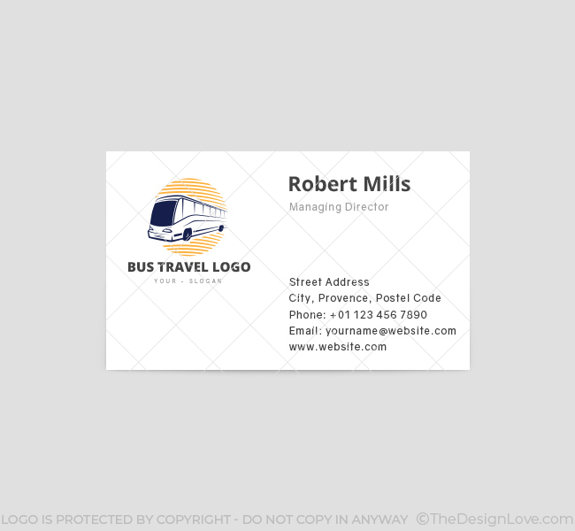 Bus Travel Business Card Template Front  Bus Pass Template