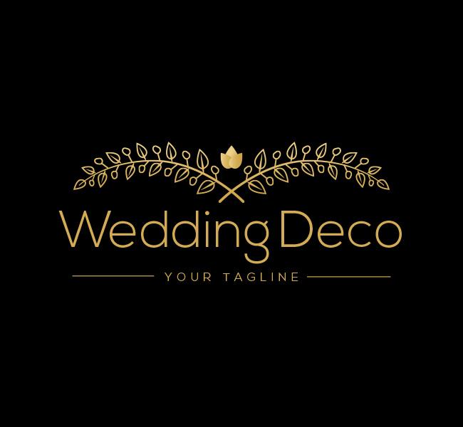 Ready-made-Logo-Wedding-Flower-Deco-Gold