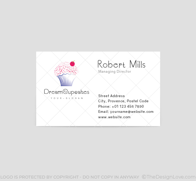 Dream cupcakes logo business card template the design love dream cupcakes business card template front cheaphphosting Image collections