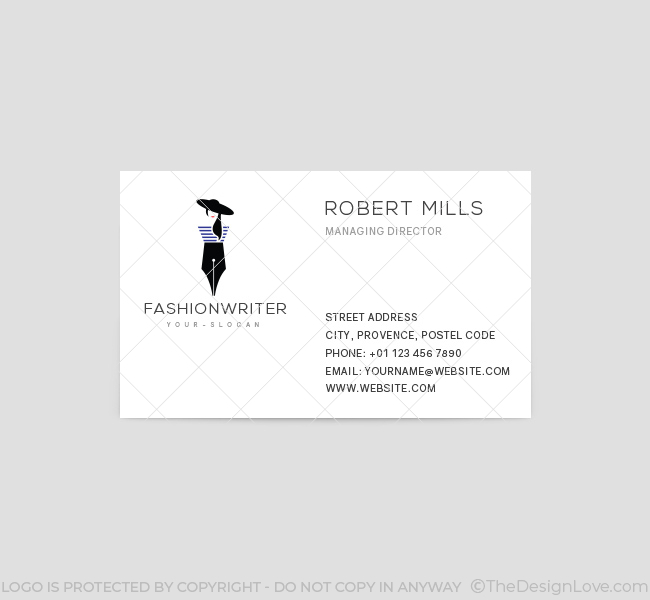 Fashion writer logo business card template the design love fashion writer business card template front colourmoves
