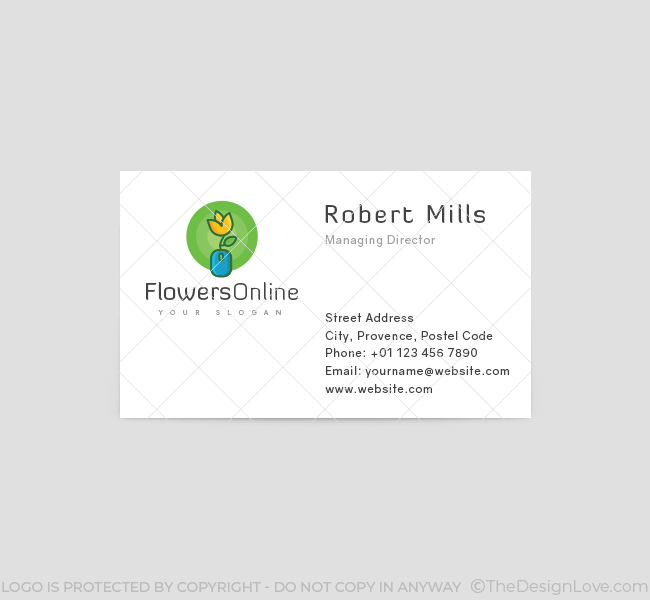 Flowers online logo business card template the design love flowers online business card template front wajeb Choice Image