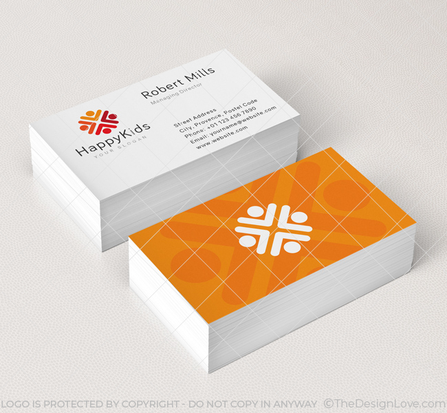 happy kids logo business card template - Kids Business Cards