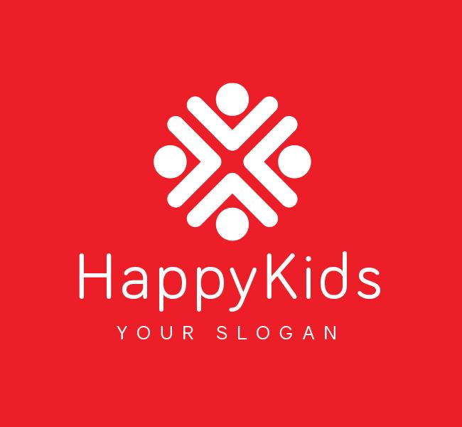 Pre-Designed-Logo-Happy-Kids-White