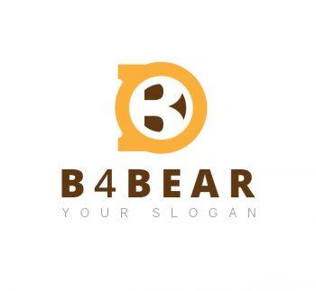 B With Bear Face Logo & Business Card Template