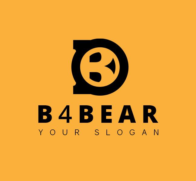 B-with-Bear-Face-Stock-Logo-Black