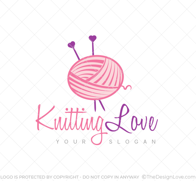 Knitting Logo Business Cards : Knitting love logo business card template the design