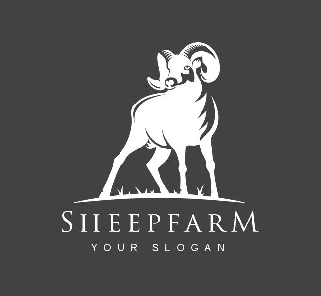 Pre-Designed-Logo-Sheep-Farm-White