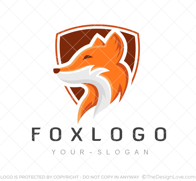 fox shield logo amp business card template the design love