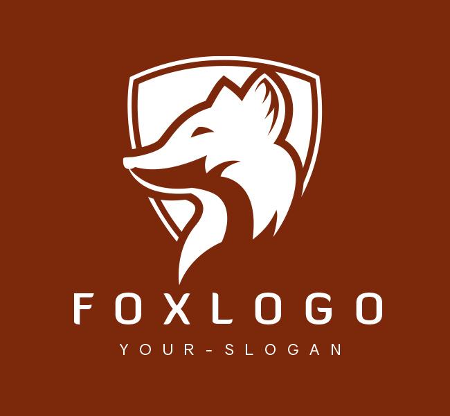 Pre-Designed-Logo-Fox-Shield-White