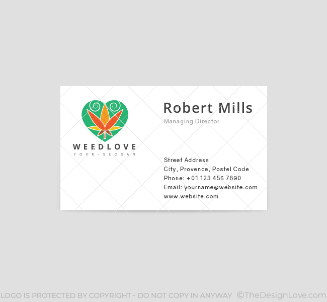 Weed love logo business card template the design love weed love business card template front flashek Images
