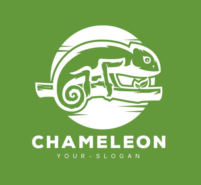 Pre-Designed-Logo-Green-Chameleon-White