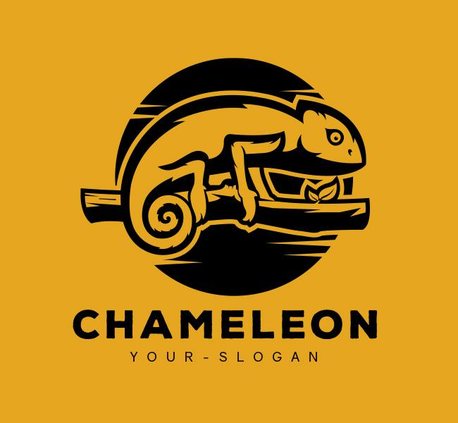 Stock-Logo-Green-Chameleon-Black