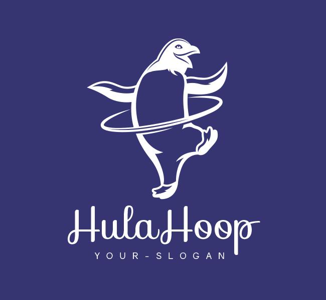 Pre-Designed-Logo-HulaHoop-Penguin-White