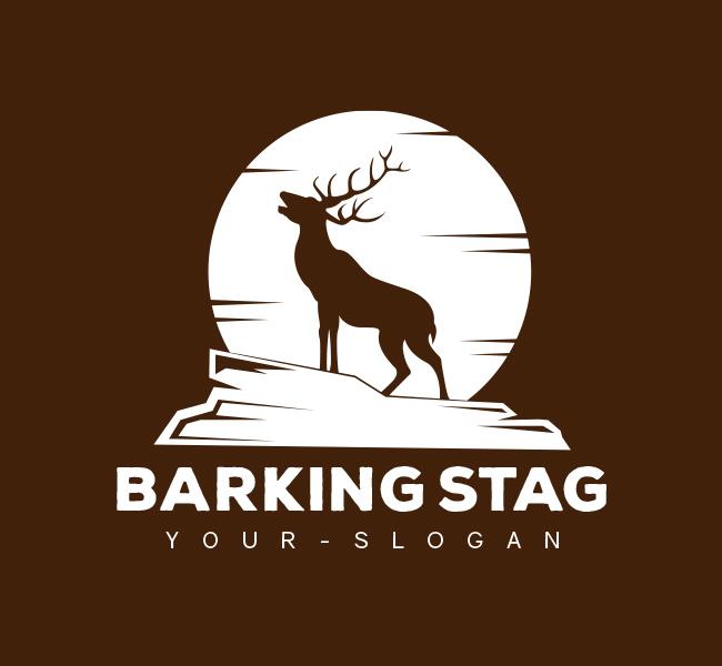 Pre-Designed-Logo-Barking-Stag-White
