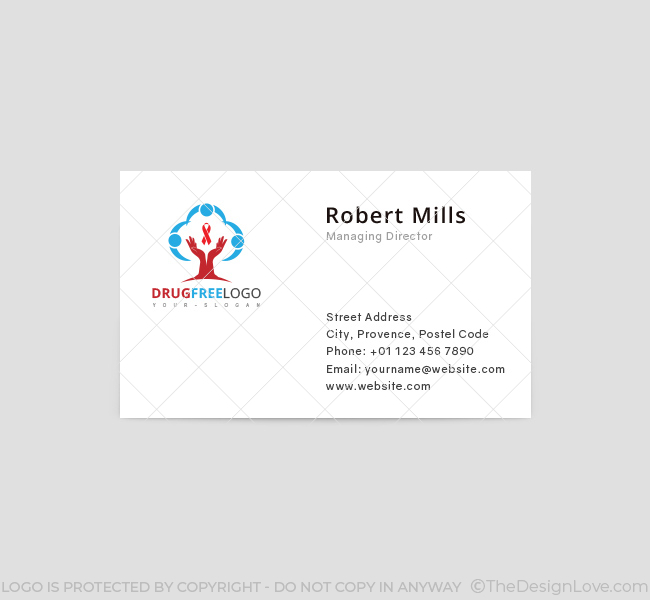 drug free logo business card template the design love. Black Bedroom Furniture Sets. Home Design Ideas