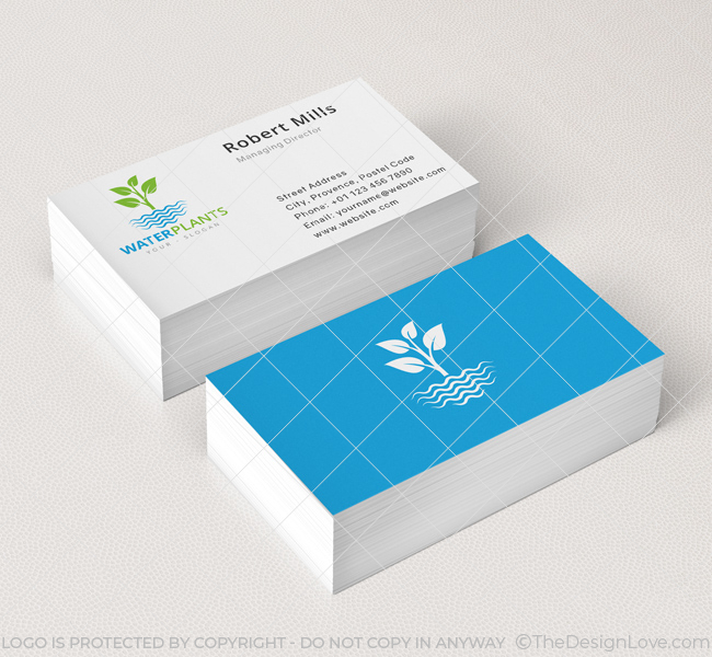 Water plants logo business card template the design love water plants business card mockup colourmoves
