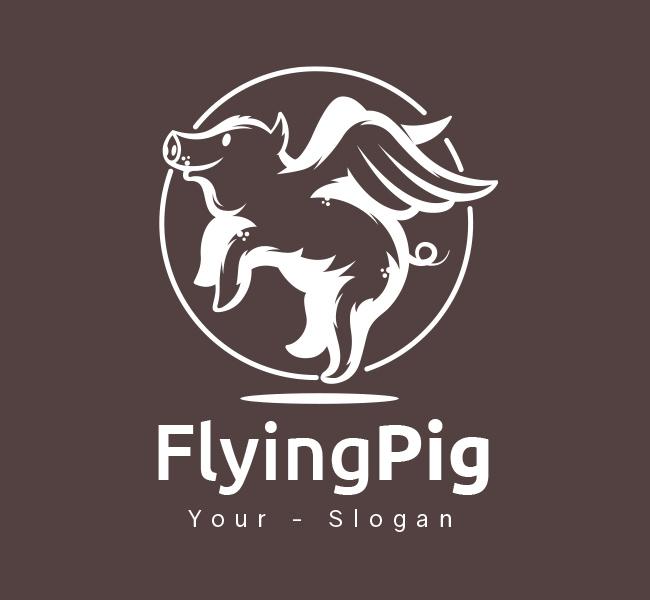 Pre-Designed-Logo-Flying-Pig-White