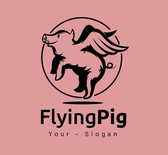 Stock-Logo-Flying-Pig-Black
