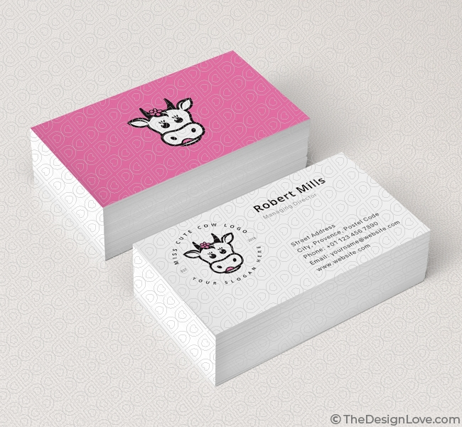 Cute Cow Logo Business Card Template The Design Love