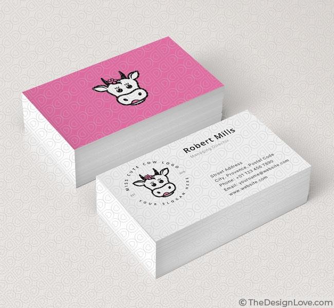 Cute Cow Logo Business Card Template