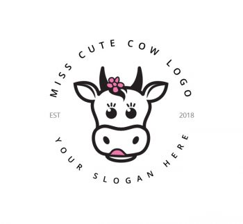 Cute Cow Logo & Business Card Template