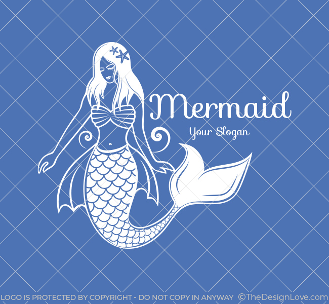 Pre-Designed-Logo-Illustrative--Mermaid-White