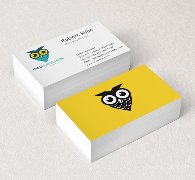 Owl play school logo business card template the design love owl play school business card mockup colourmoves