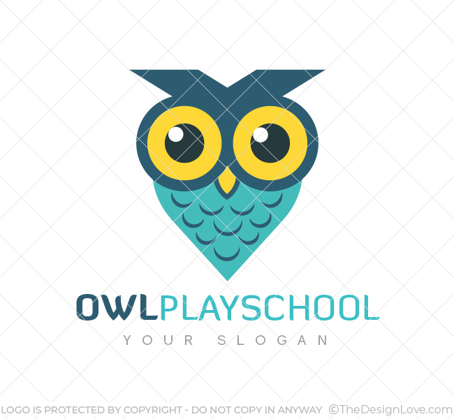 Owl Play School Logo & Business Card Template