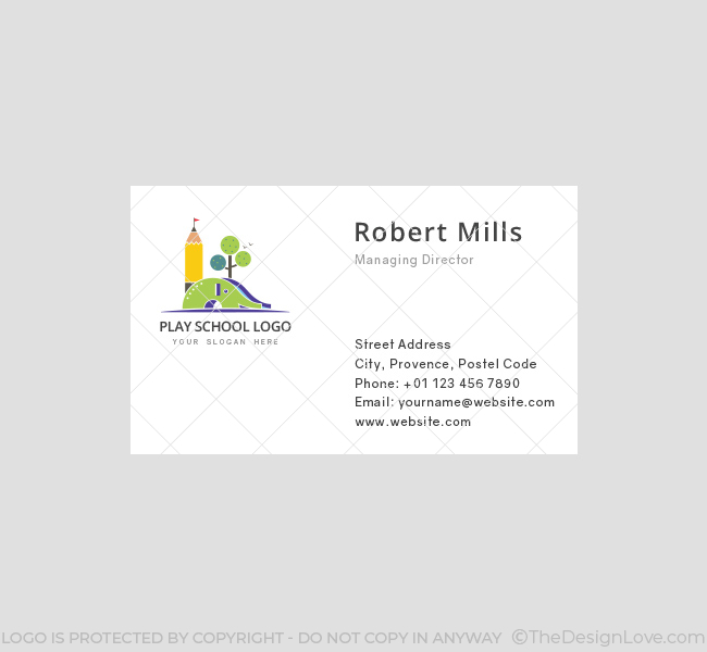 kids play school business card template front - Kids Business Cards