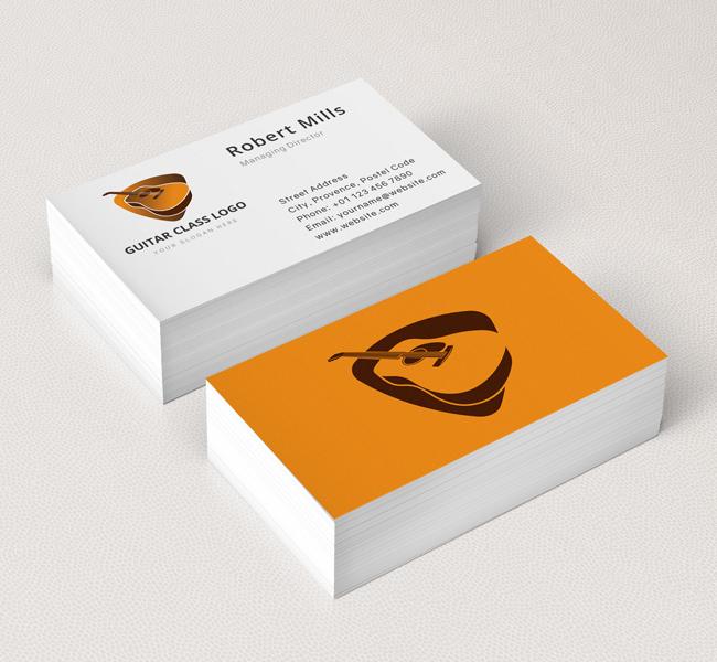 Guitar logo business card template the design love guitar logo business card template colourmoves
