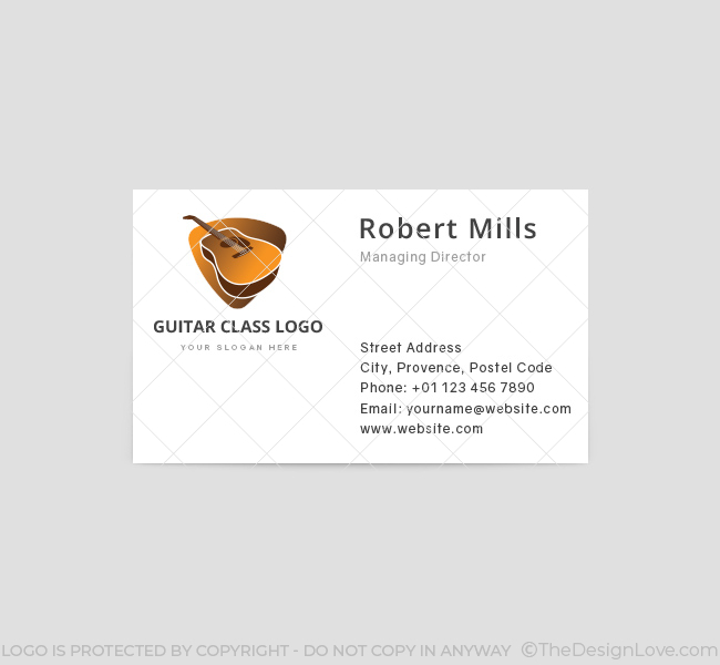 Guitar logo business card template the design love guitar class business card template front reheart Images