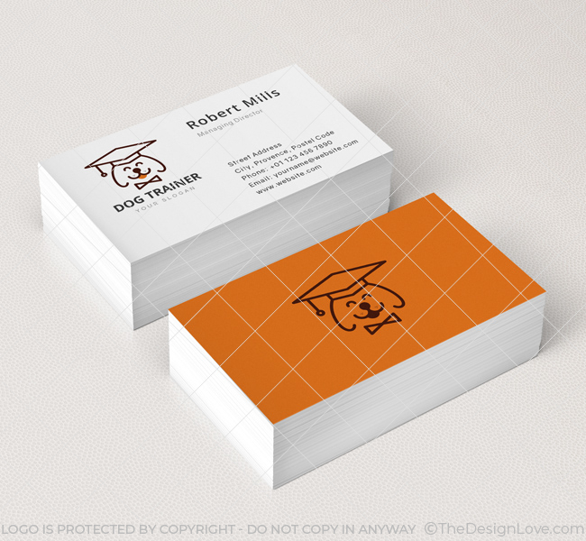 Dog trainer logo business card template the design love dog trainer business card mockup colourmoves