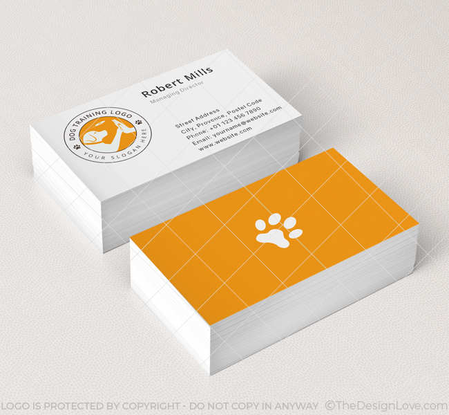 Dog training logo business card template the design love dog training business card mockup colourmoves