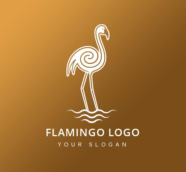 Golden-Flamingo-Pre-Designed-Logo