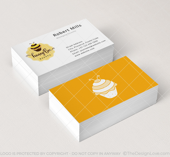 honey bee bakery business card mockup - Bakery Business Cards
