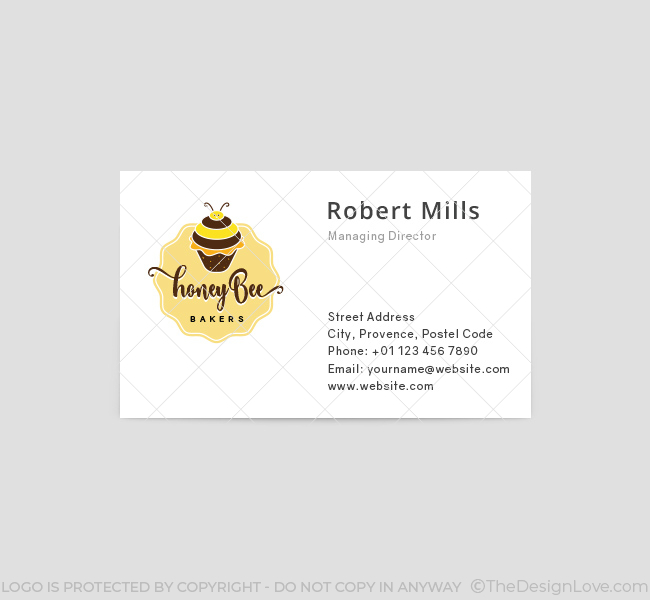 Honey bee bakery logo business card template the design love honey bee bakery business card template front reheart Image collections