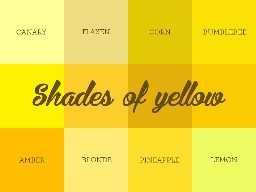 Describing 11 Commonly Used Shades Of Yellow