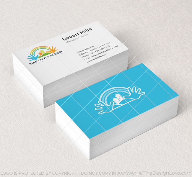 Rainbow Play School Logo Business Card Template