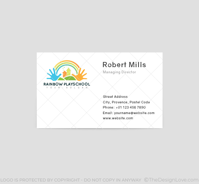Rainbow play school logo business card template the design love rainbow play school business card template front reheart Choice Image