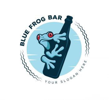 Blue Frog Pub Logo & Business Card Template