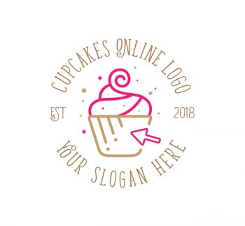 Online Cupcake Logo & Business Card Template