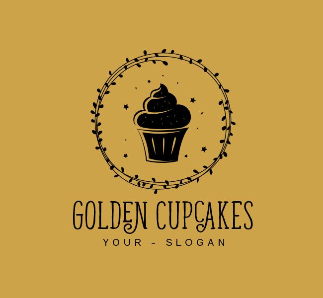 388-Golden-Cupcake--Stock-Logo