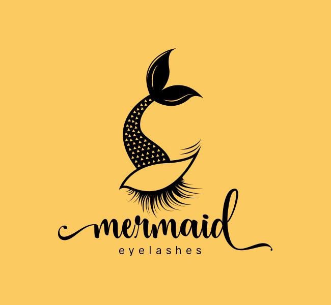 Mermaid-Eyelash-Stock-Logo