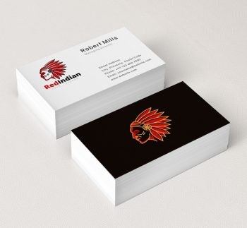 Red-Indian-Face-Business-Card-Mockup