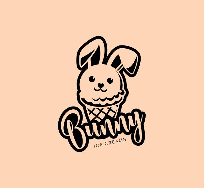 Bunny-Ice-cream-Stock-Logo