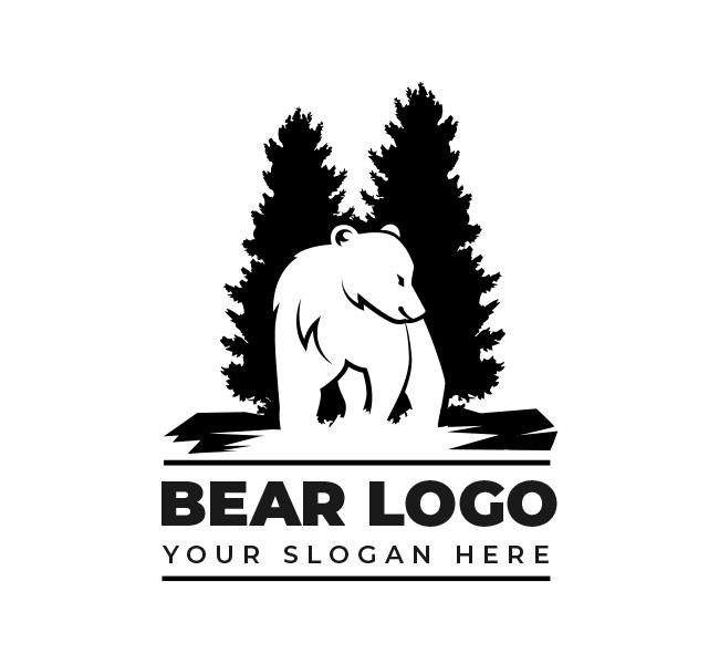 Bear and pine Logo