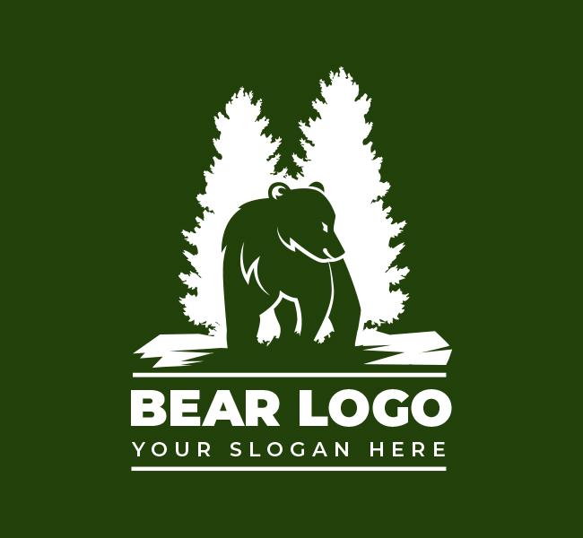Bear-and-pine-Pre-Designed-Logo