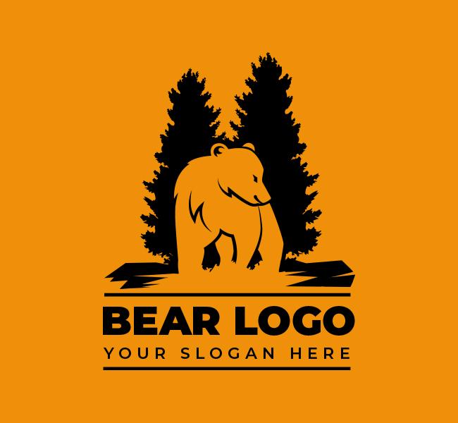 Bear-and-pine-Stock-Logo