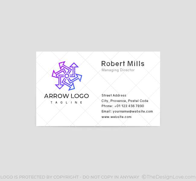 556-Abstract-Arrow-Business-Card-Front
