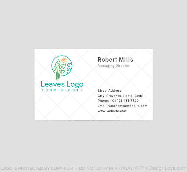 593-Green-Leaves-Business-Card-Front